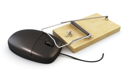 trickery: Computer mouse in a mousetrap on a white background. 3d illustration.