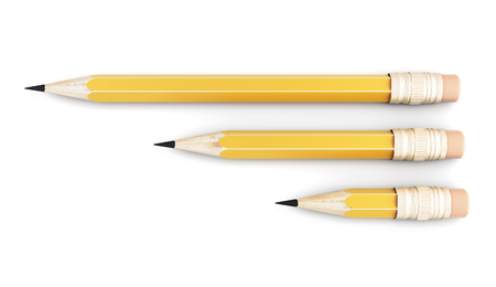 varying: Three simple pencil of varying size on a white background. 3d illustration.