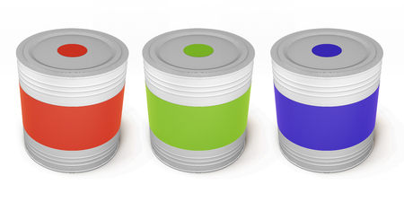 paint cans: Set of paint cans different color isolated on white background. 3d illustration.
