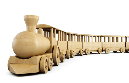 Toy wooden train isolated on white background. 3d illustration. Stock Photo