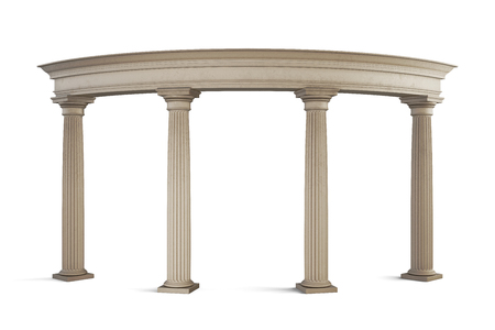 archway: Entrance group in classic style on a white background. 3d illustration.