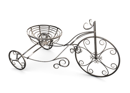 plant stand: Small metal decorative tricycle isolated on white background. 3d illustration.