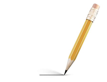 yellov: Pencil draws a line. 3d render image.