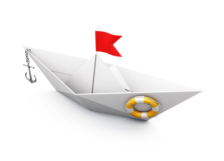 lifeline: Boat out of paper with an anchor and a lifeline on a white background. 3d render image. Stock Photo