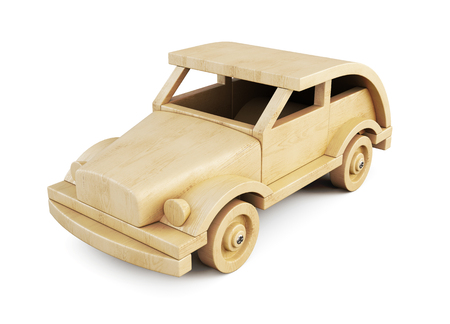 wooden toy: Wooden toy car isolated on white background. 3d illustration.