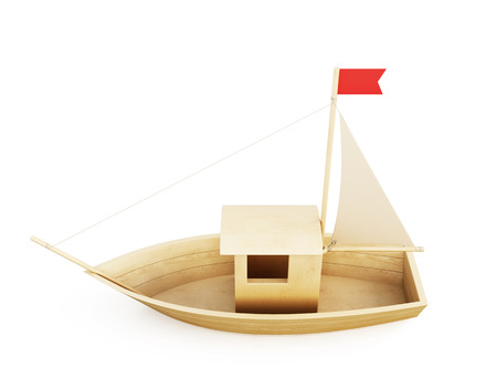 wood carving 3d: Sailboat statuette figure isolated over white background. 3d illustration.