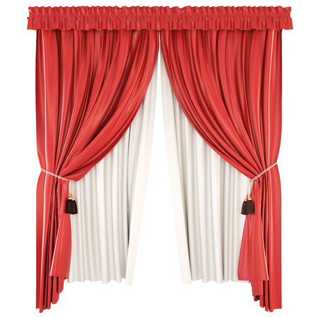 Classic curtains with pelmet isolated on white background. 3d illustration.