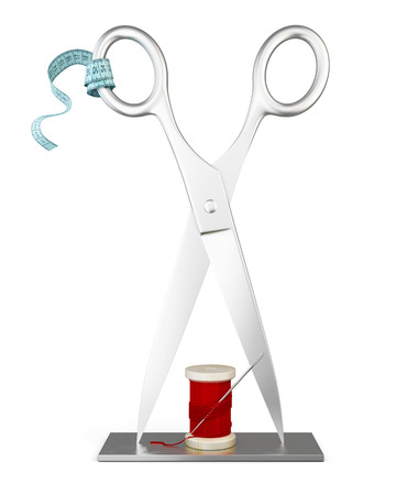 atelier: Stand for Atelier tailoring isolated on white background. 3d illustration.