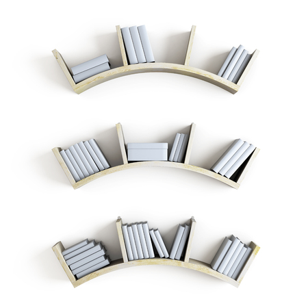 wooden shelves: Curved wooden shelves with books isolated on white background. 3d illustration.
