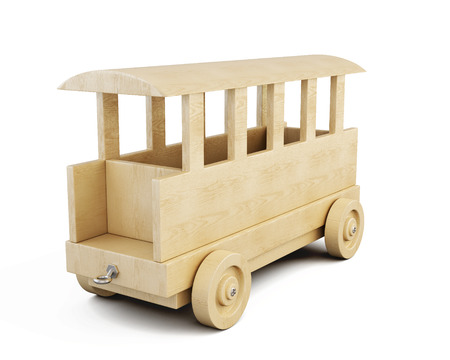 wooden toy: Wooden railway car close-up isolated on white background. 3d illustration.