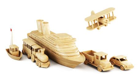 bodywork: Different modes of transport. Set of wooden forms of transport. Conceptual 3d illustration.