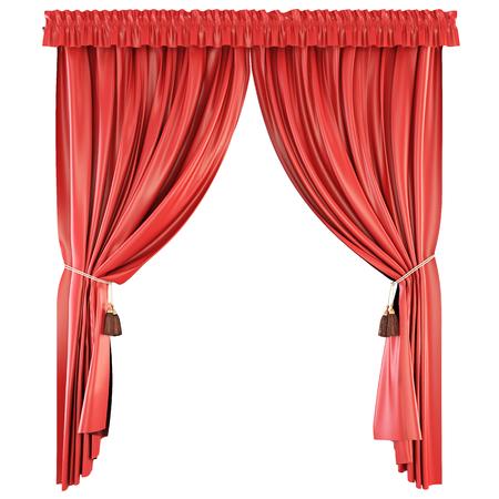 飾り板は、白い背景で隔離。赤いカーテン。3 d イラスト。