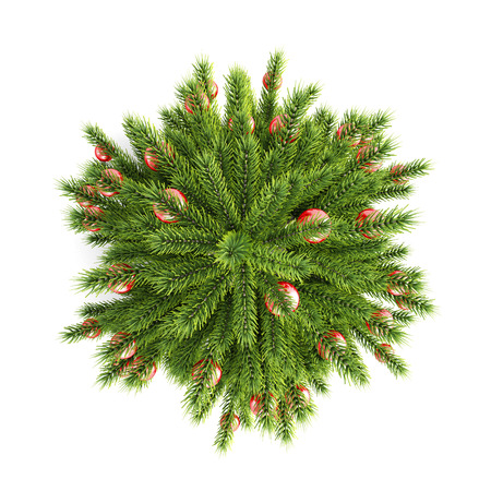 view from above: Christmas tree with Christmas balls top view on a white background. 3d illustration. Stock Photo