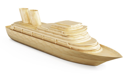 cruise ship icon: Wooden cruise liner isolated on white background. 3d illustration.
