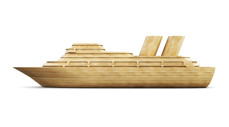 cruise cartoon: Wooden cruise liner side view isolated on white background. 3d illustration.