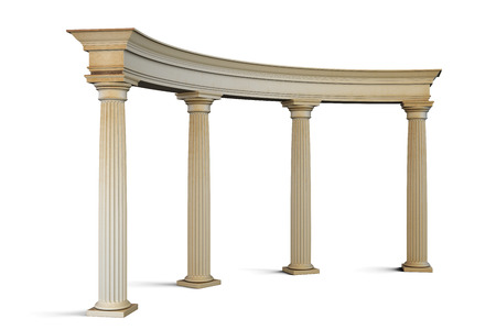 built: Entrance group with columns in the classical style on a white. 3d render image.