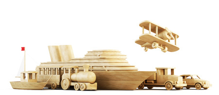 cargo transport: Different modes of transport. Set of wooden forms of transport. Conceptual 3d image. Stock Photo