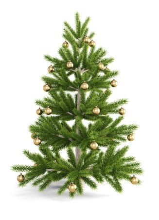 fake christmas tree: Christmas tree with golds christmas balls isolated on white background. 3d illustration. Stock Photo