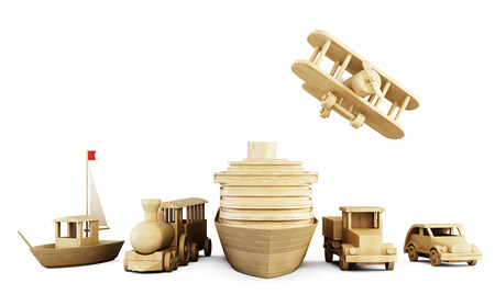 cargo train: Set of wooden toys - different types of transport on a white. Front view. 3d illustration. Stock Photo