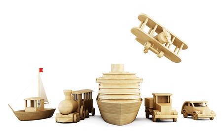 Set van houten speelgoed - verschillende vormen van vervoer op een witte. Vooraanzicht. 3D-afbeelding.