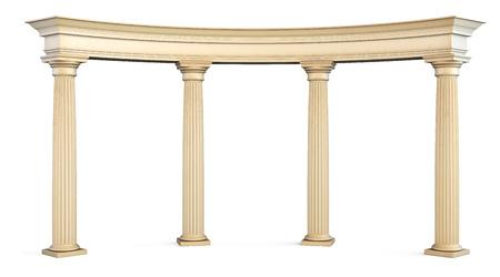 Romeinse zuilen poort die op wit met het knippen van weg. 3D-afbeelding.