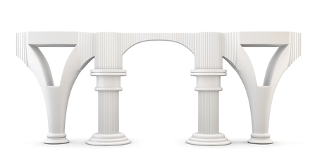 antic: Column arc isolated on white background. 3d render image.