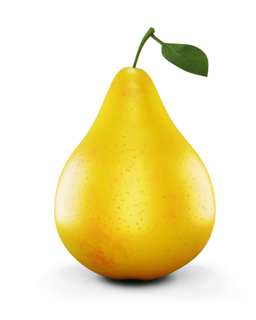 sappy: Ripe yellow pear on white background. 3d illustration. Stock Photo