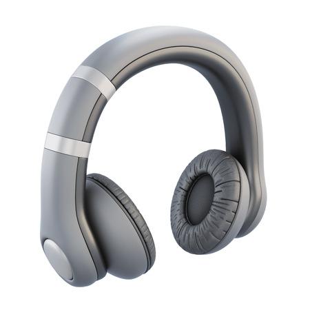 playback: Headphones isolated on white background. 3d illustration.