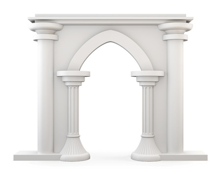 archway: Front view of a Entrance with columns isolated on white background. 3D Rendering. Stock Photo
