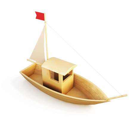Wooden boat model isolated over a white background. 3d illustration.