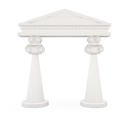 archway: Front view of a classic entrance with columns isolated on white background. 3d illustration.