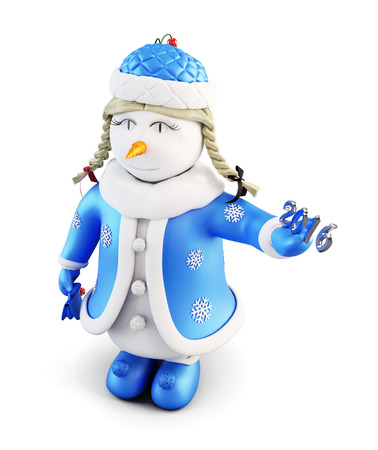 snow maiden: Snow maiden with New Year. Snowman-girl on a white background. 3d render image. Stock Photo