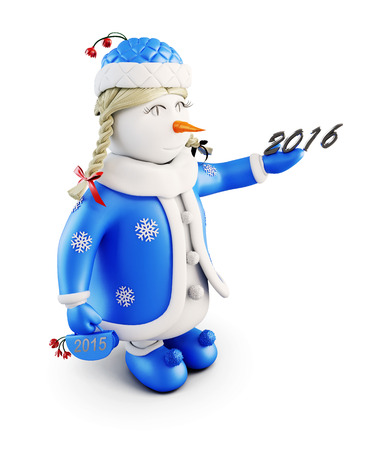 Snow maiden with New Year. Snowman-girl on a white background. 3d illustration. Stock Photo