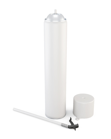 pu foam: White tube has foam on a white background. 3d illustration.
