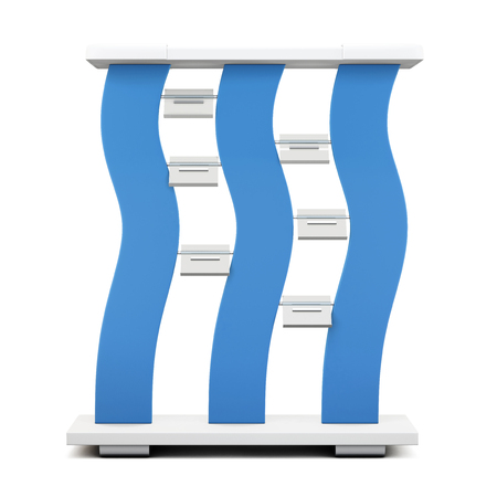accents: Advertising stand with blue accents isolated on white background. 3d rendering.