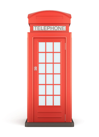 Phone booth on a white - front view. 3d rendering.