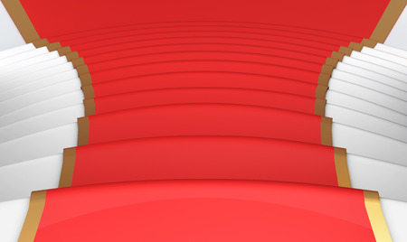 walk of fame: Red carpet on the steps close up. 3d render image.