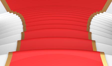 blockbuster: Red carpet on the steps close up. 3d render image.