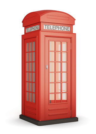 phonebooth: British red phone booth isolated on white bcakground. 3d rendering.