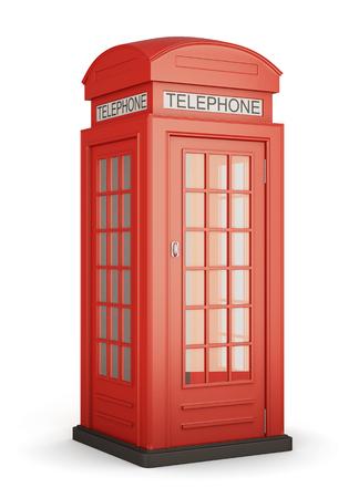 cabina telefonica: cabina de tel�fono roja brit�nica aislada en bcakground blanco. Las 3D.