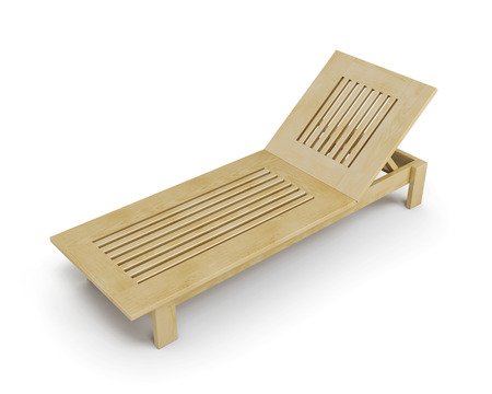 deck chair isolated: Wooden deck chair isolated on white background. 3d rendering.