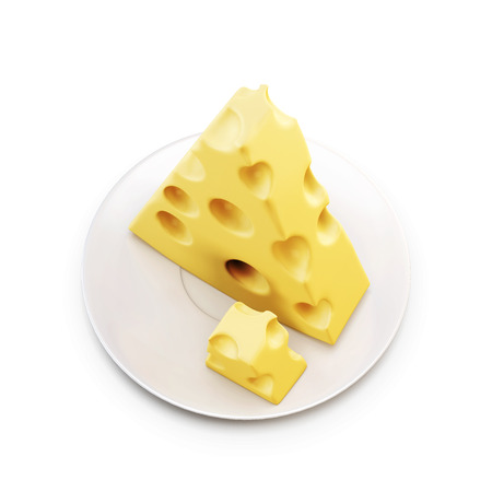 edam: Piece of cheese on a saucer. 3d render image. Stock Photo