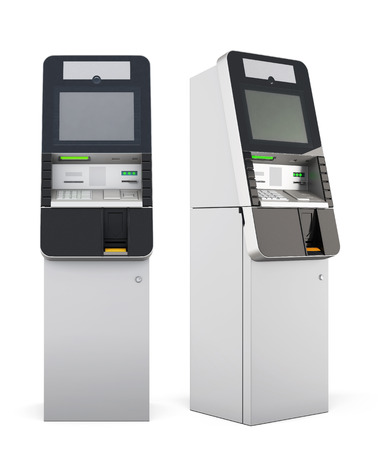 bankomat: ATM machine isolated on white background. 3d rendering. Stock Photo