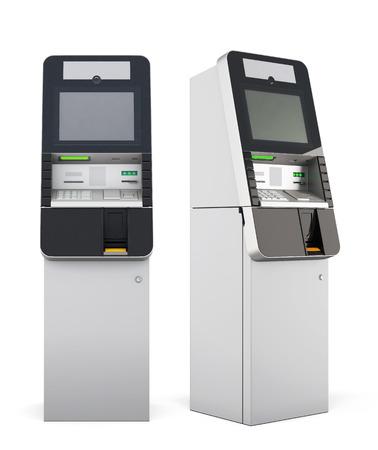 banco dinero: cajero autom�tico aislado en el fondo blanco. Las 3D.