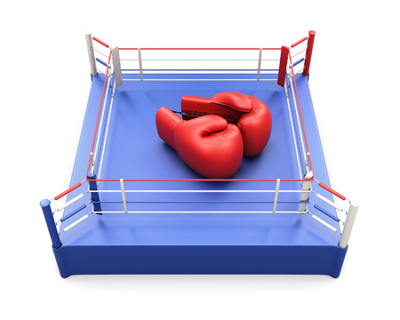 boxing knockout: Boxing ring with large Boxing gloves on it. Conceptual image. 3d illustration.