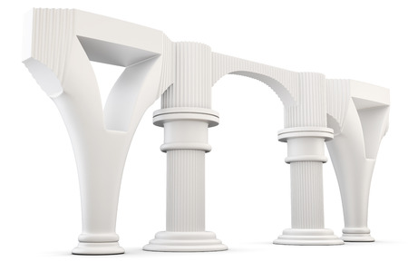 antic: Column arc isolated on white background. 3d render image,