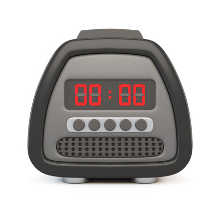 red button: Front view of a black electronic watch alarm clock isolated on white background. 3d.
