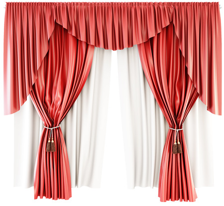 cotton velvet: Red curtain with pelmet isolated on a white background. 3d rendering.