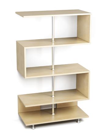 wooden shelves: Wooden shelves on a chrome rack isolated on white background. 3d rendering. Stock Photo