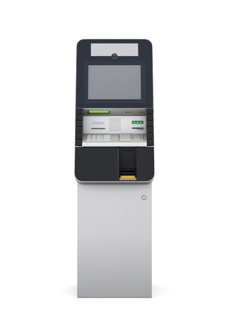 technology transaction: ATM machine isolated on white background. Front view. 3d rendering.